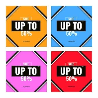 Modelo de banner colorido de venda de até 50%