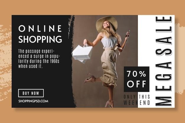 Modelo de banner com 70% de desconto para compras online