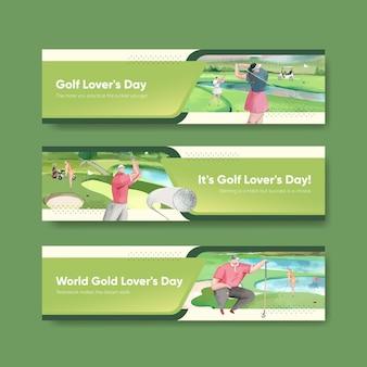Modelo de banner com amante de golfe em estilo aquarela