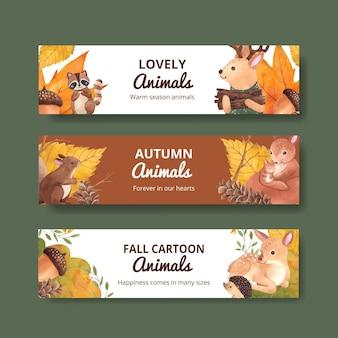 Modelo de banner com animal de outono em estilo aquarela