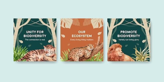 Modelo de banner com biodiversidade como espécie de vida selvagem natural ou proteção de fauna