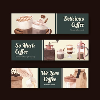Modelo de banner com café em estilo aquarela