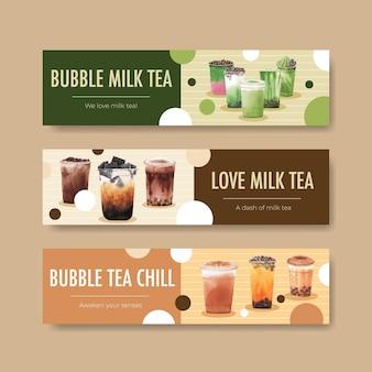 Modelo de banner com chá com leite bolha