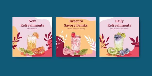 Modelo de banner com conceito de bebidas refrescantes, estilo aquarela