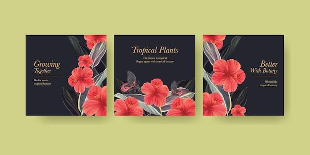 Modelo de banner com conceito de botânica tropical, estilo aquarela