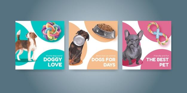 Modelo de banner com conceito de cachorro fofo, estilo aquarela