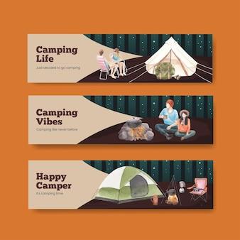 Modelo de banner com conceito de campista feliz