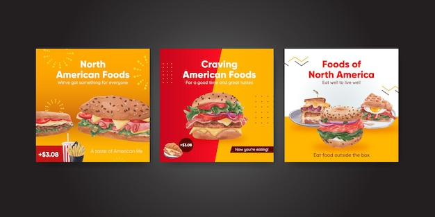 Modelo de banner com conceito de comida americana, estilo aquarela