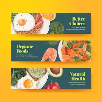 Modelo de banner com conceito de comida saudável, estilo aquarela