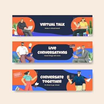 Modelo de banner com conceito de conversa ao vivo