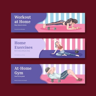 Modelo de banner com conceito de exercício em casa, estilo aquarela