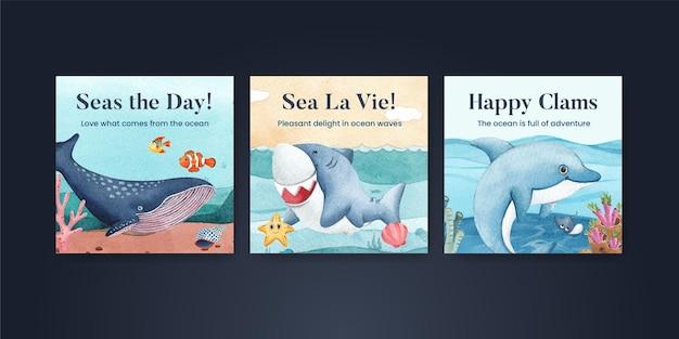 Modelo de banner com conceito de oceano encantado estilo aquarela