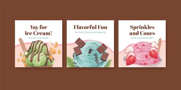 Modelo de banner com conceito de sabor de sorvete, estilo aquarela