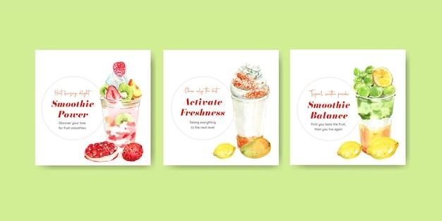 Modelo de banner com conceito de smoothies de frutas