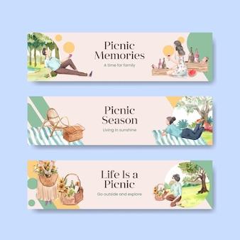 Modelo de banner com conceito de viagem de piquenique para publicidade e marketing de ilustração em aquarela
