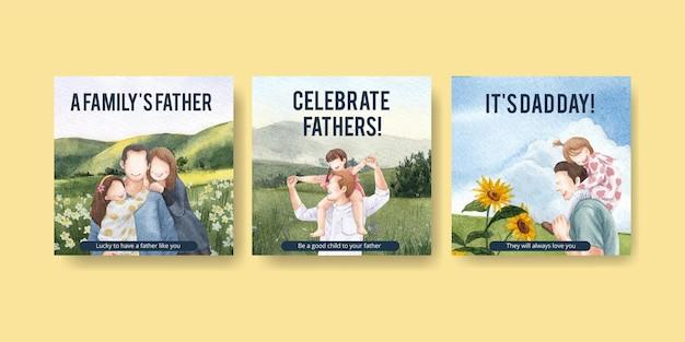 Modelo de banner com conceito do dia dos pais, estilo aquarela