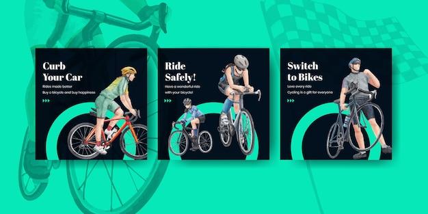 Modelo de banner com conceito do dia mundial da bicicleta, estilo aquarela