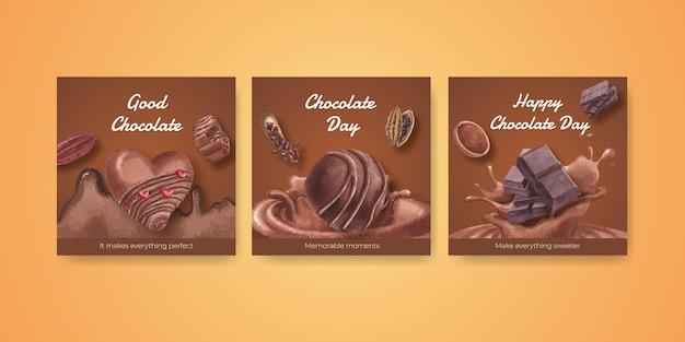 Modelo de banner com conceito do dia mundial do chocolate
