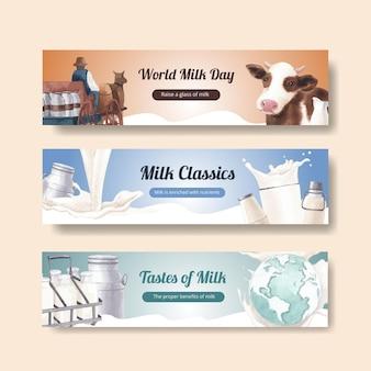 Modelo de banner com conceito do dia mundial do leite, estilo aquarela