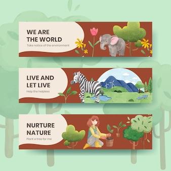Modelo de banner com conceito do dia mundial do meio ambiente, estilo aquarela
