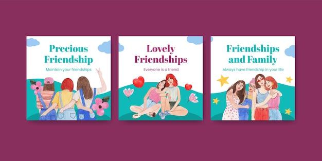 Modelo de banner com conceito do dia nacional da amizade, estilo aquarela