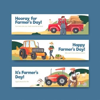 Modelo de banner com conceito do dia nacional do fazendeiro, estilo aquarela