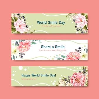 Modelo de banner com design de buquê de flores para o conceito de dia mundial do sorriso para anunciar e marketing de ilustração vetorial aquarela.