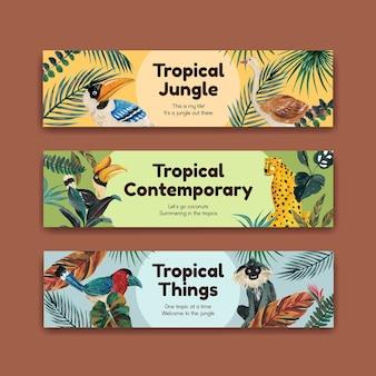 Modelo de banner com design de conceito contemporâneo tropical para publicidade e marketing de ilustração em aquarela