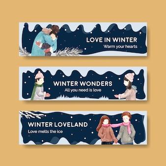 Modelo de banner com design de conceito de amor de inverno para publicidade e marketing de ilustração vetorial aquarela