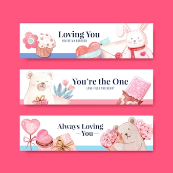 Modelo de banner com design de conceito de amor para anunciar e comercializar ilustração em aquarela