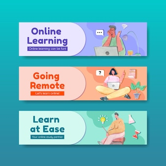Modelo de banner com design de conceito de aprendizagem online para publicidade e marketing de ilustração em aquarela