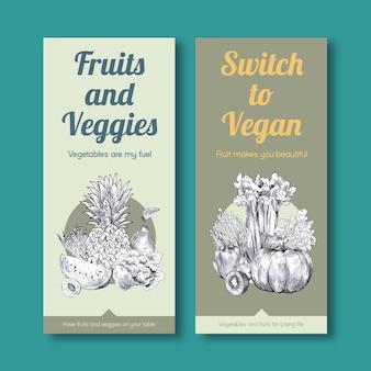 Modelo de banner com design de conceito de comida vegan.