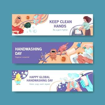 Modelo de banner com design de conceito de dia de lavagem de mãos global