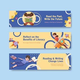 Modelo de banner com design de conceito de dia internacional da alfabetização para marketing e folheto aquarela.