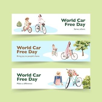 Modelo de banner com design de conceito de dia mundial sem carro para anunciar e brochura vetor aquarela.