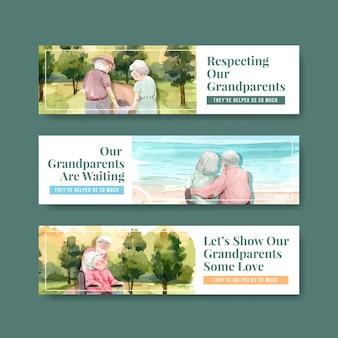 Modelo de banner com design de conceito de dia nacional dos avós para brochura e folheto em aquarela.