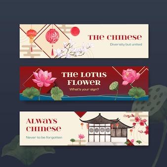 Modelo de banner com design de conceito de feliz ano novo chinês com ilustração em aquarela de marketing