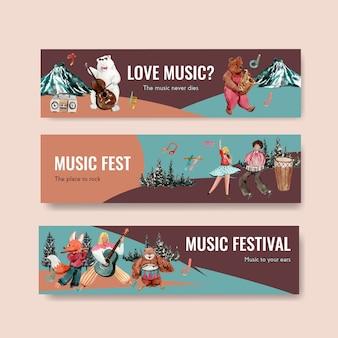 Modelo de banner com design de conceito de festival de música para publicidade e marketing de ilustração vetorial aquarela