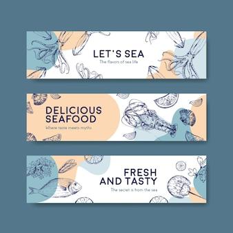 Modelo de banner com design de conceito de frutos do mar para ilustração de propaganda e brochura