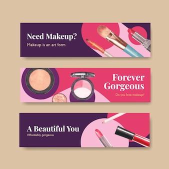 Modelo de banner com design de conceito de maquiagem para publicidade e marketing de watercoclor