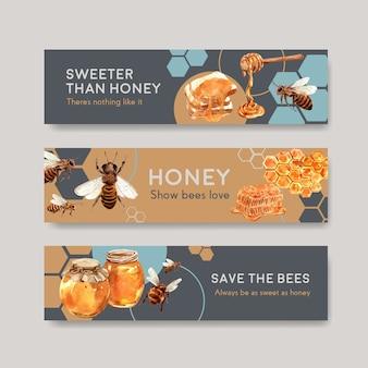 Modelo de banner com design de conceito de mel para anunciar ilustração vetorial de aquarela