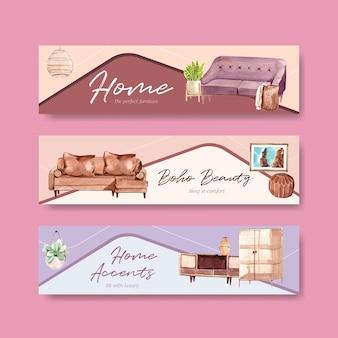Modelo de banner com design de conceito de móveis boho para propaganda e marketing de ilustração em aquarela