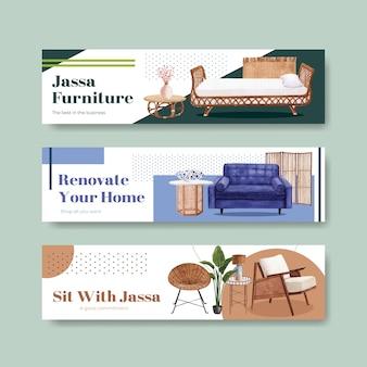Modelo de banner com design de conceito de móveis jassa para publicidade e marketing de ilustração vetorial aquarela