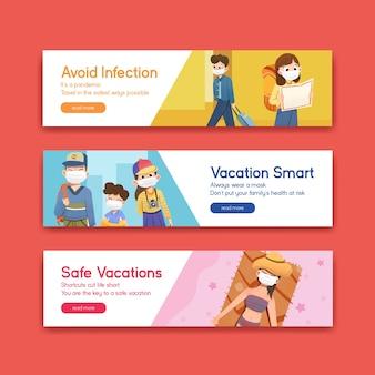 Modelo de banner com design de conceito de prevenção covid-19 para um novo estilo de vida normal.