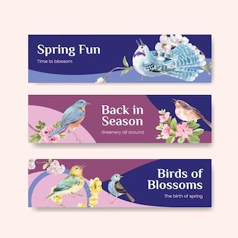 Modelo de banner com design de conceito de primavera e pássaro para publicidade e marketing de ilustração em aquarela