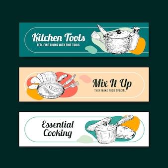 Modelo de banner com design de conceito de utensílios de cozinha para ilustração vetorial