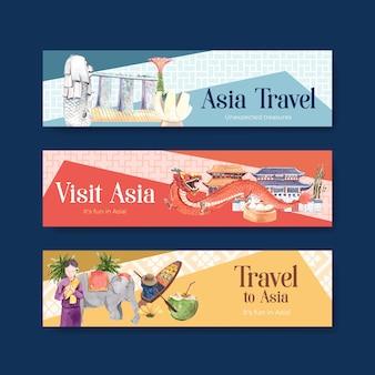 Modelo de banner com design de conceito de viagens na ásia para publicidade e marketing de ilustração vetorial aquarela