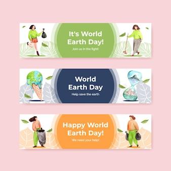 Modelo de banner com design de conceito do dia da terra para propaganda e marketing de ilustração em aquarela