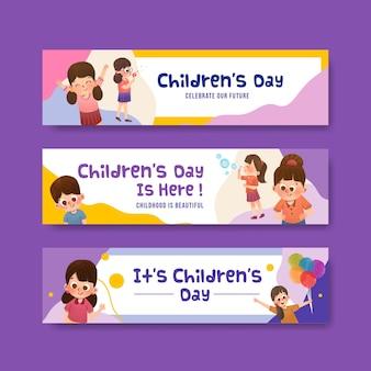 Modelo de banner com design de conceito do dia das crianças