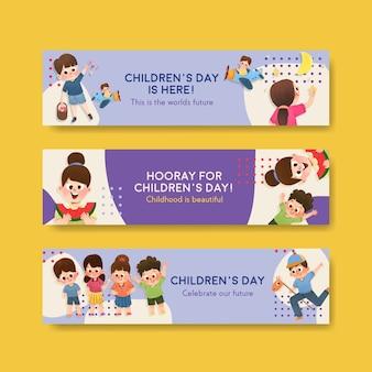 Modelo de banner com design de conceito do dia das crianças Vetor grátis